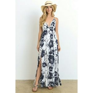 Dresses & Skirts - Vacation Vibes Plunge Maxi Dress in Print New Sexy